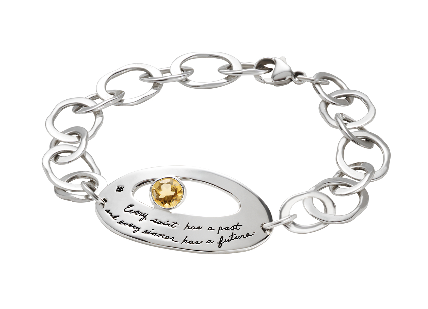 Sterling silver link bracelet with large oval plaque engraved Every Saint has a past and every Sinner has a Future with yellow citrine in oval cutout.