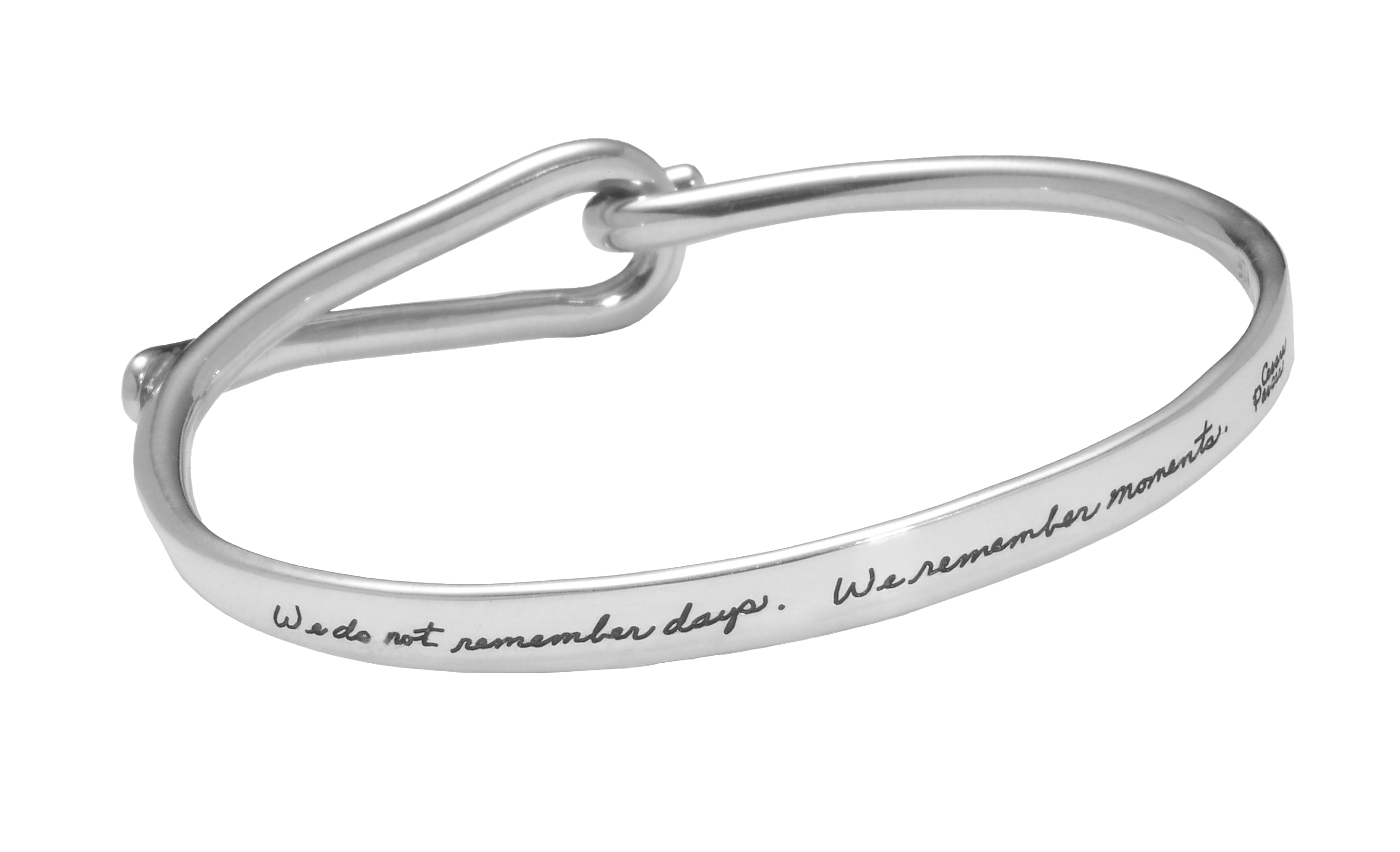 Sterling bracelet opens at loop and hook closure with inspirational words - We do not remember days. We remember moments. Cesare Pavese