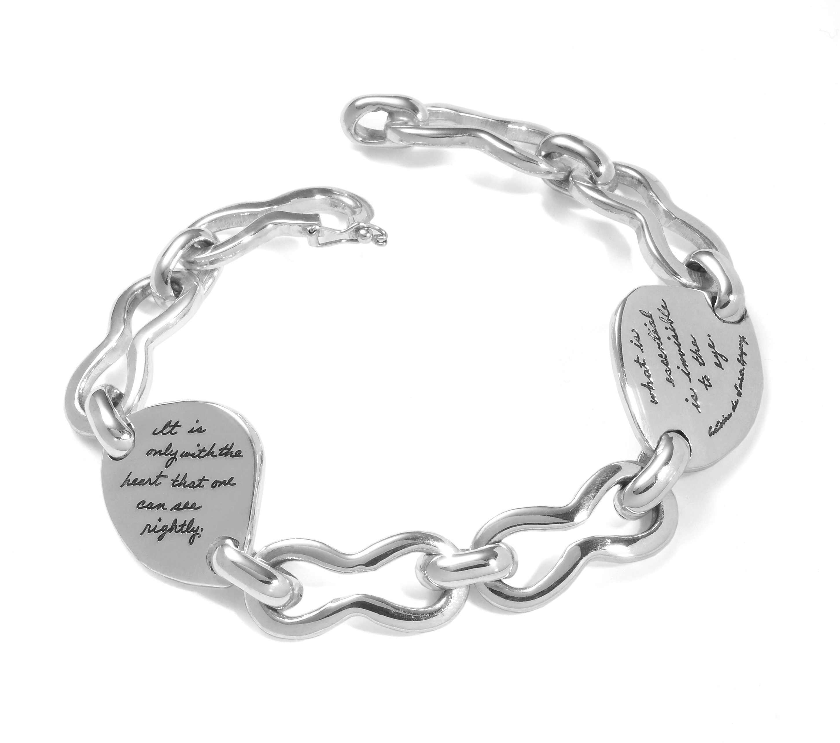 Famous quote from The Little Prince enhances BB Becker link bracelet with engraving - It is only with the heart that one can see rightly; what is essential is invisible to the eye.