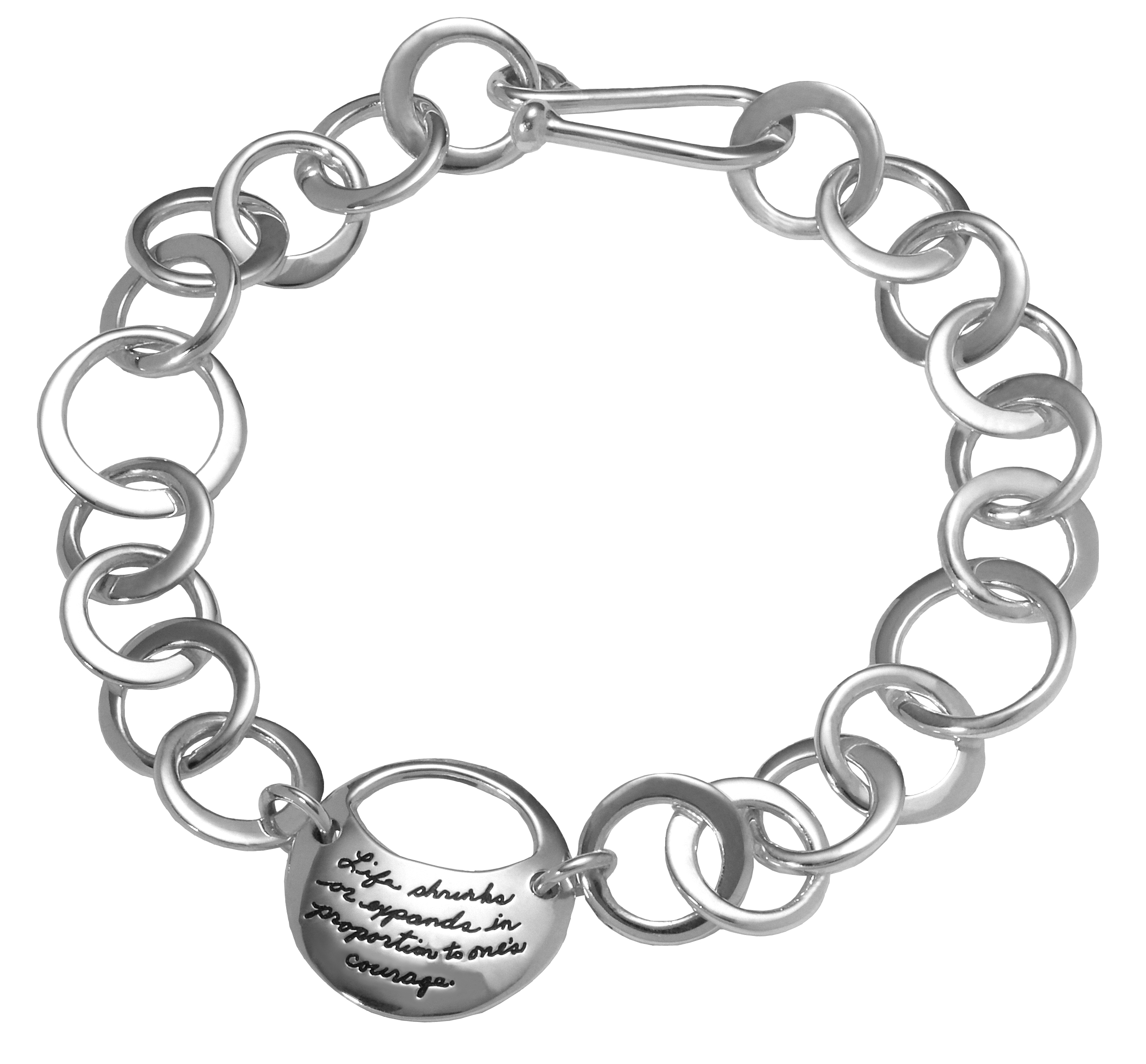 A Courageous Life sterling link bracelet with Anais Nin quotation on full moon and waxing moon cutout - Life shrinks or expands in proportion to o's couragene.