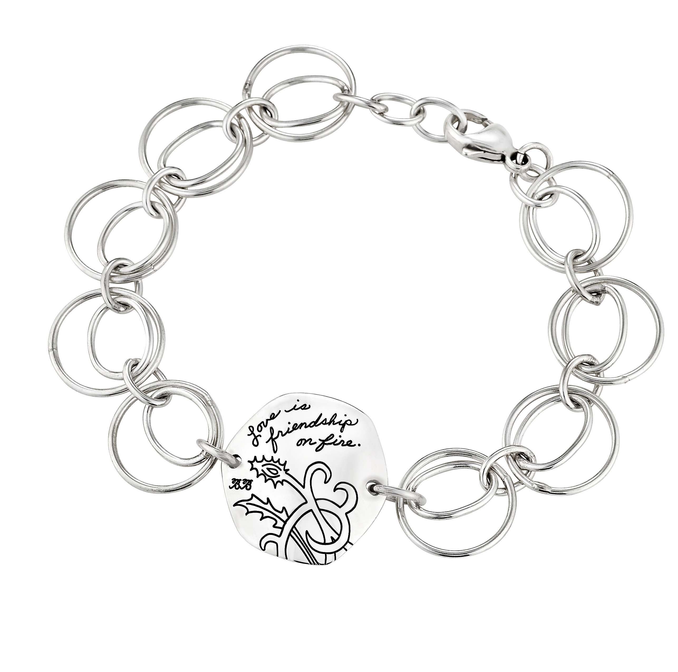 Sterling Silver circle linked bracelet Hexagon shaped plaque with engraved floral design and inspirational message: Love is friendship on fire.