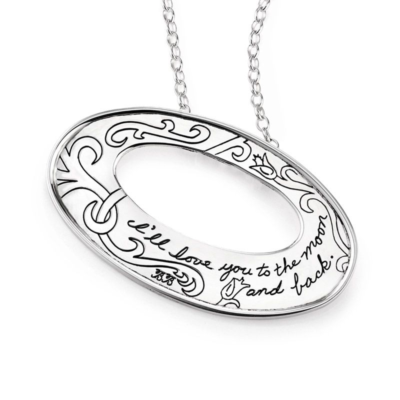 BB Becker| Inspirational Jewelry | Pendant with Engraved Quote - I'll love you to the moon and back.