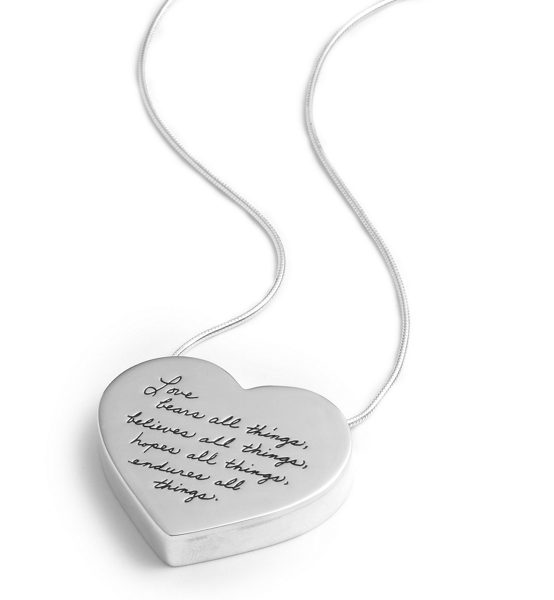 Inspirational sterling silver three-dimentional heart pendant with Engraved Quote: Love bears all things, believes all things, hopes all things, endures all things. -Corinthians