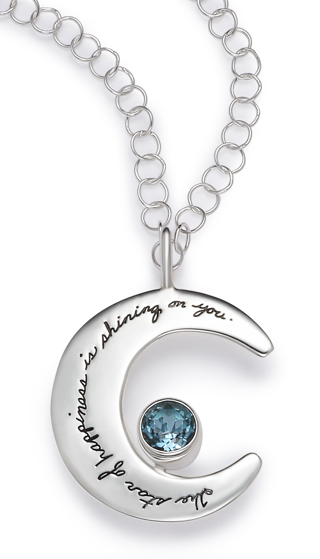 Inspirational sterling silver moon shaped necklace 6mm round blue topaz attached Engraved Quote: The star of happiness is shinning on you.