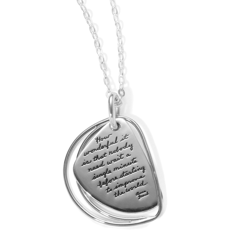 Sterling BB Becker wedge shaped plaque with double silver outlines on left side. Inpirational message reads: How wonderful it is that nobody need wait a single minute before starting to change the world. ~Anne Frank