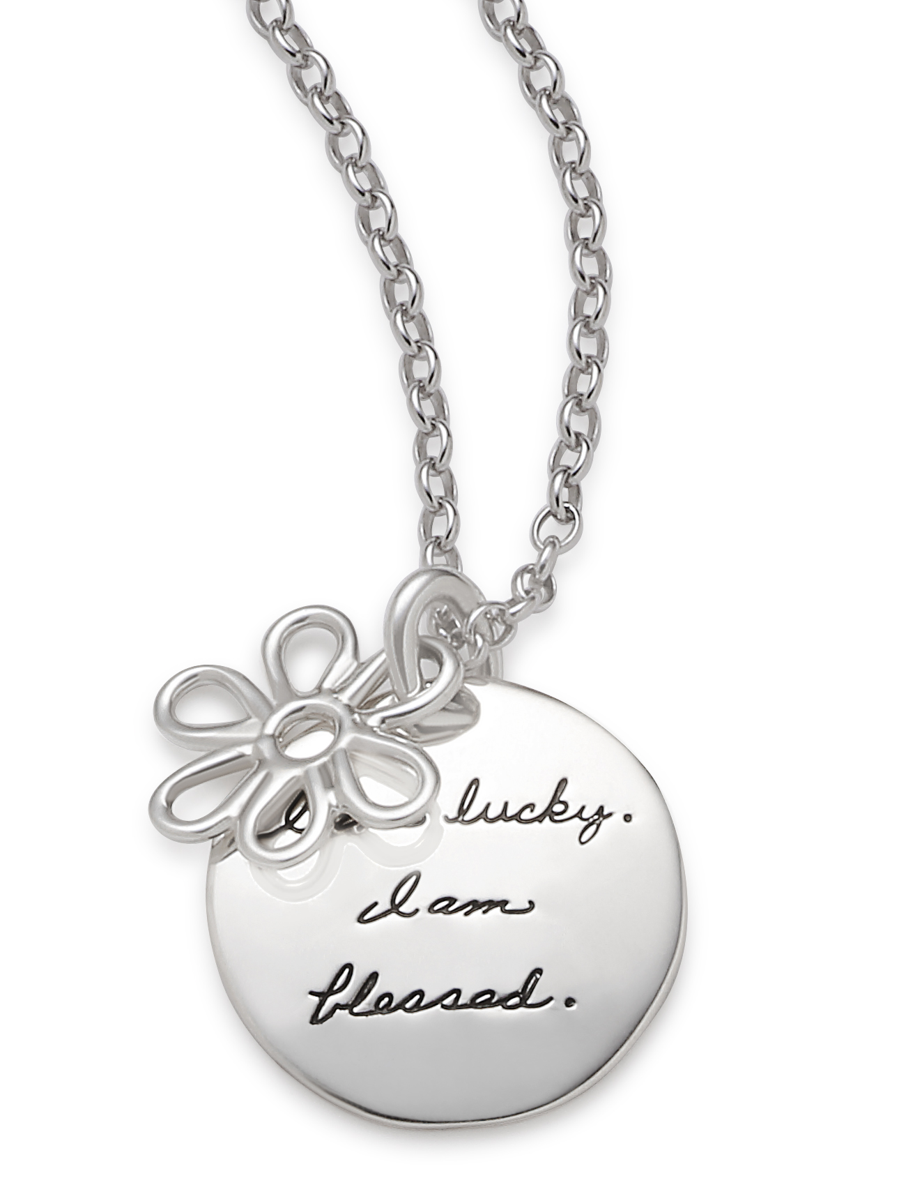 Inspirational circle pendant with a sterling wire hanging flower in front engraved quote reads: I am lucky. I am blessed.
