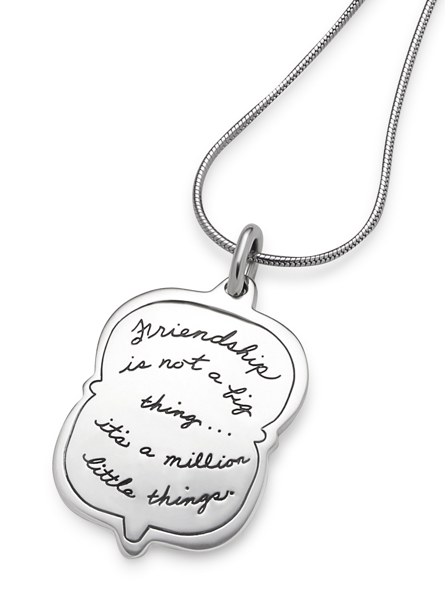 Sterling silver cameo silhouette shaped necklace with Inspirational engraved quote: Friendship is not a big thing...it's a million little things.