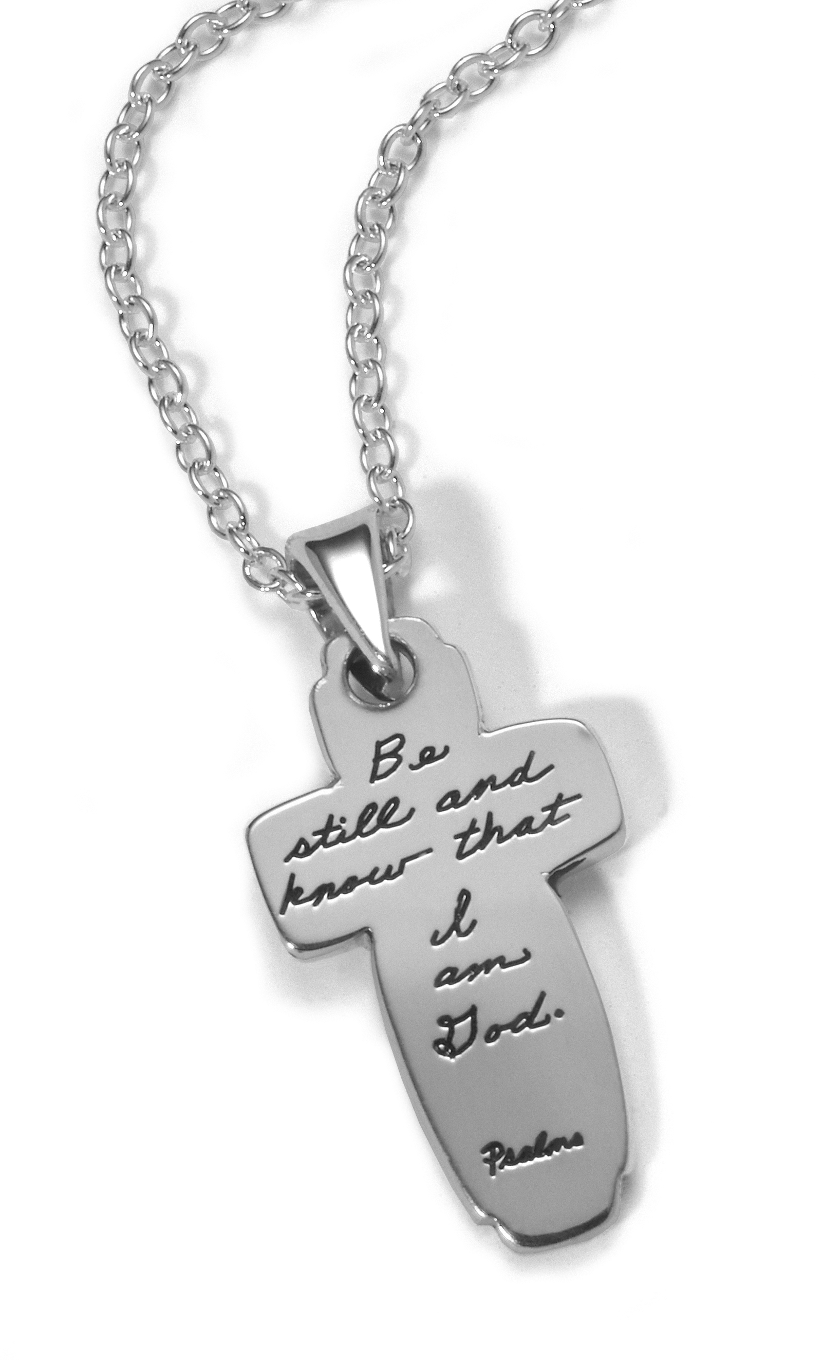 Inspirational Sterling Silver Cross Pendant with Engraved Quote - Be still, and know that I am God. - Psalms