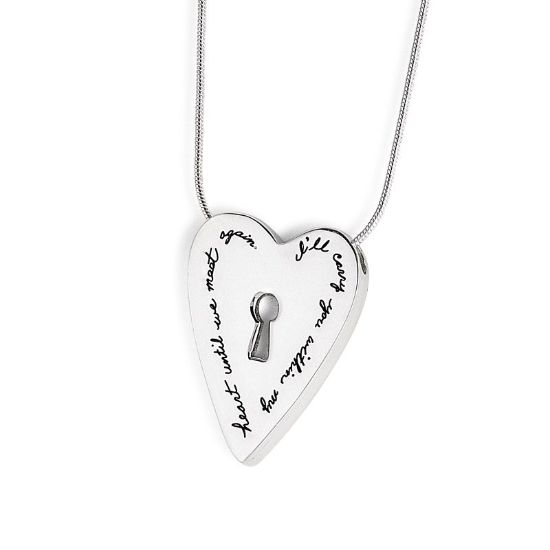 Sterling Silver three dimensional heart shaped pendant with a key-hole cutout in center Engraved quote: I'll carry you within my heart until we meet again.