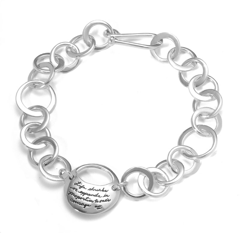 A Courageous Life sterling link bracelet with Anais Nin quotation on full moon and waxing moon cutout - Life shrinks or expands in proportion to one's courage.
