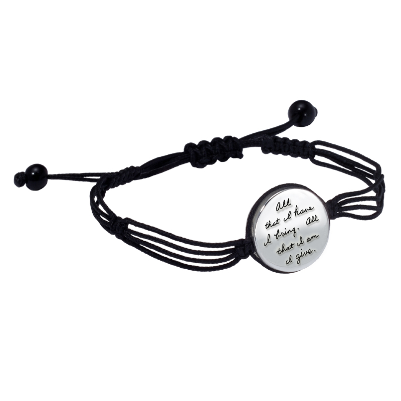 Romantic bracelet with unique corded design circling a round silver plaque engraved with the quotation:  All that I have, I bring. All that I am, I give. - Christina Rossetti