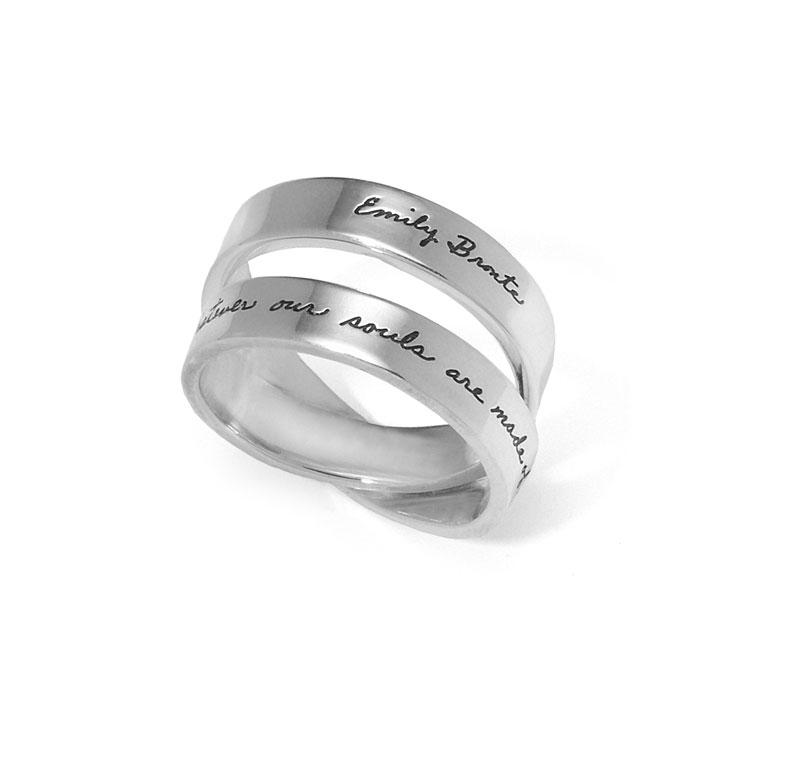 Sterling double twisted band ring with inscribed quote that reads: Whatever our souls are made of, yours and mine are the same. -Emily Bronte