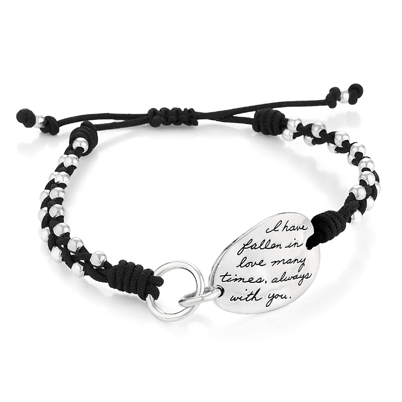 Bracelet with engraved quote - I have fallen in love many times... Always with you. ~Unknown | Inspirational Jewelry