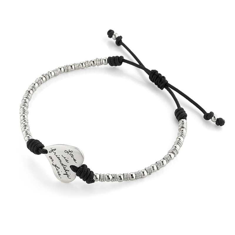 Handmade silver-beaded adjustable bracelet with asymmetrical heart-shaped plaque engraved with: Love is friendship on fire. - Jeremy Taylor