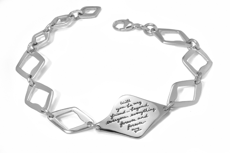 Friends Forever bracelet of triangle links and plaque shows Henry James quotation - Will you be my friend...beyond everyone, everything, forever and forever.