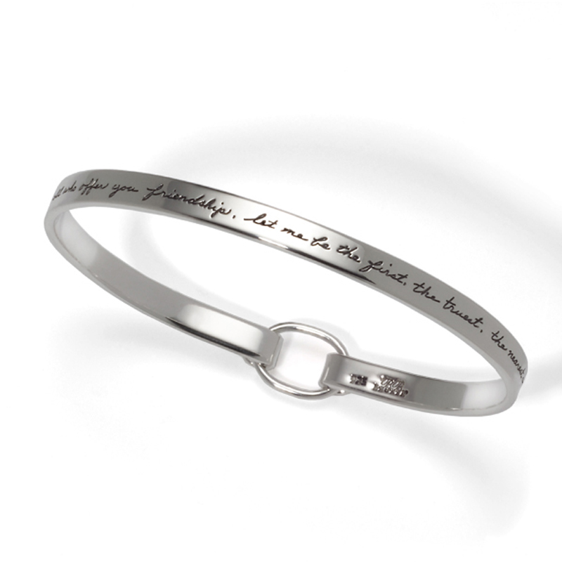 Longfellow friendship quotation on BB Becker sterling classical designer bracelet  - We mut ever be friends; and of all who offer you friendship, let me be the first, the truest, the nearest and dearest.