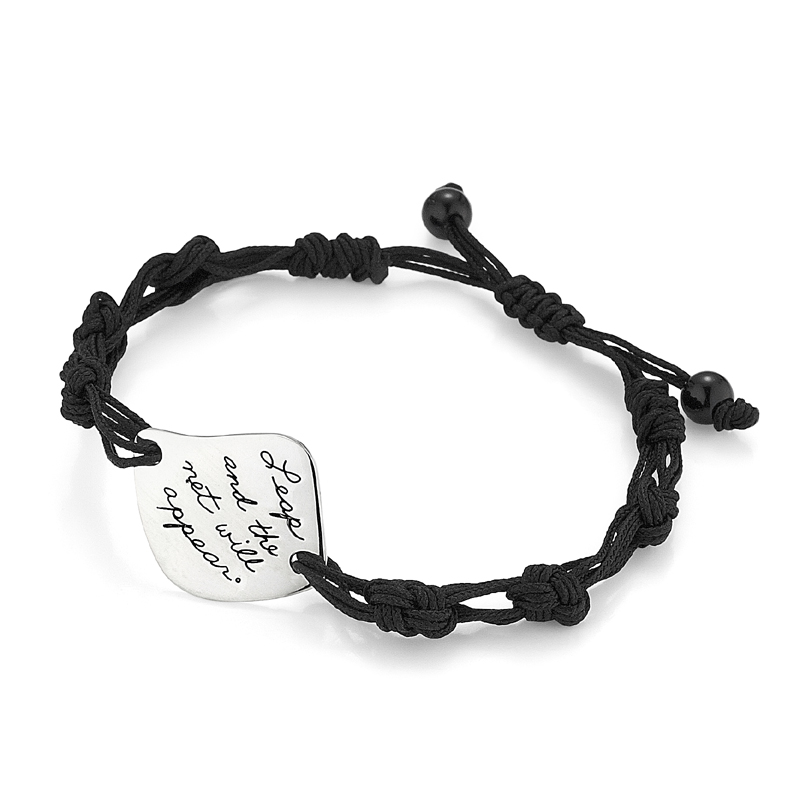 Inspirational sterling bracelet with intricate woven black cord is engraved with quote: Leap and the net will appear.