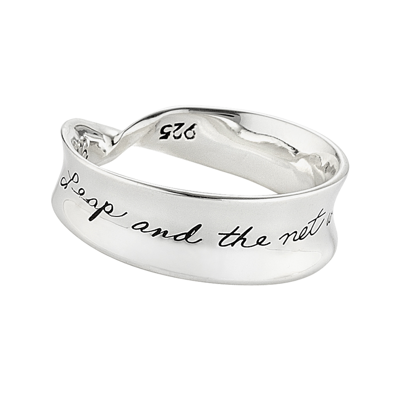 Sterling cresent shaped mobius ring Engraved message says: Leap and the net will appear.