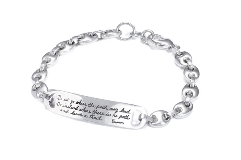 Bracelet with engraved quote - Do not go where the path may lead. Go instead where there is no path and leave a trail. ~Ralph Waldo Emerson | BB Becker | Inspirational Jewelry