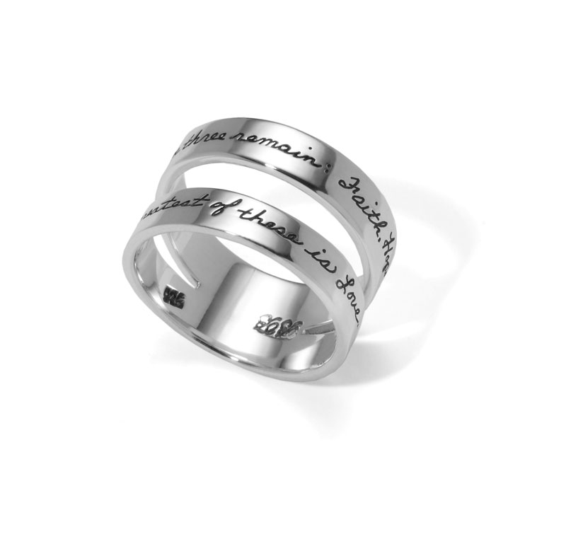 Ring with engraved quote - These three remain: Faith, Hope and Love. But the greatest of these is Love. ~1st Corinthians | BB Becker | Inspirational Jewelry