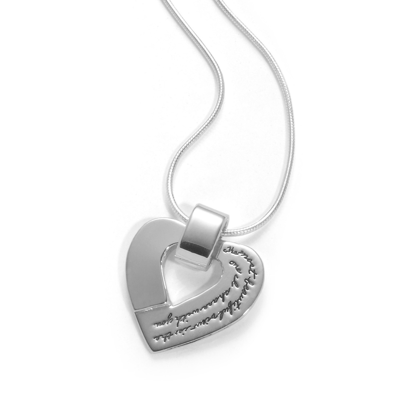Sterling Silver Inspirational necklace heart shaped with heart shape cutout in center Engraved on right side with the quote: The most beautiful view is the one I share with you. - Rosemond Gerard
