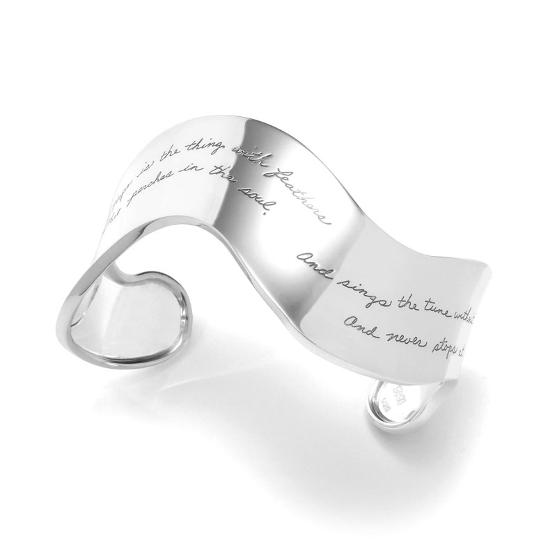 Bracelet with engraved quote - Hope is the thing with feathers that perches in the soul, and sings the tune without the words, and  never stops at all. ~Emily Dickenson | BB Becker | Inspirational Jewelry