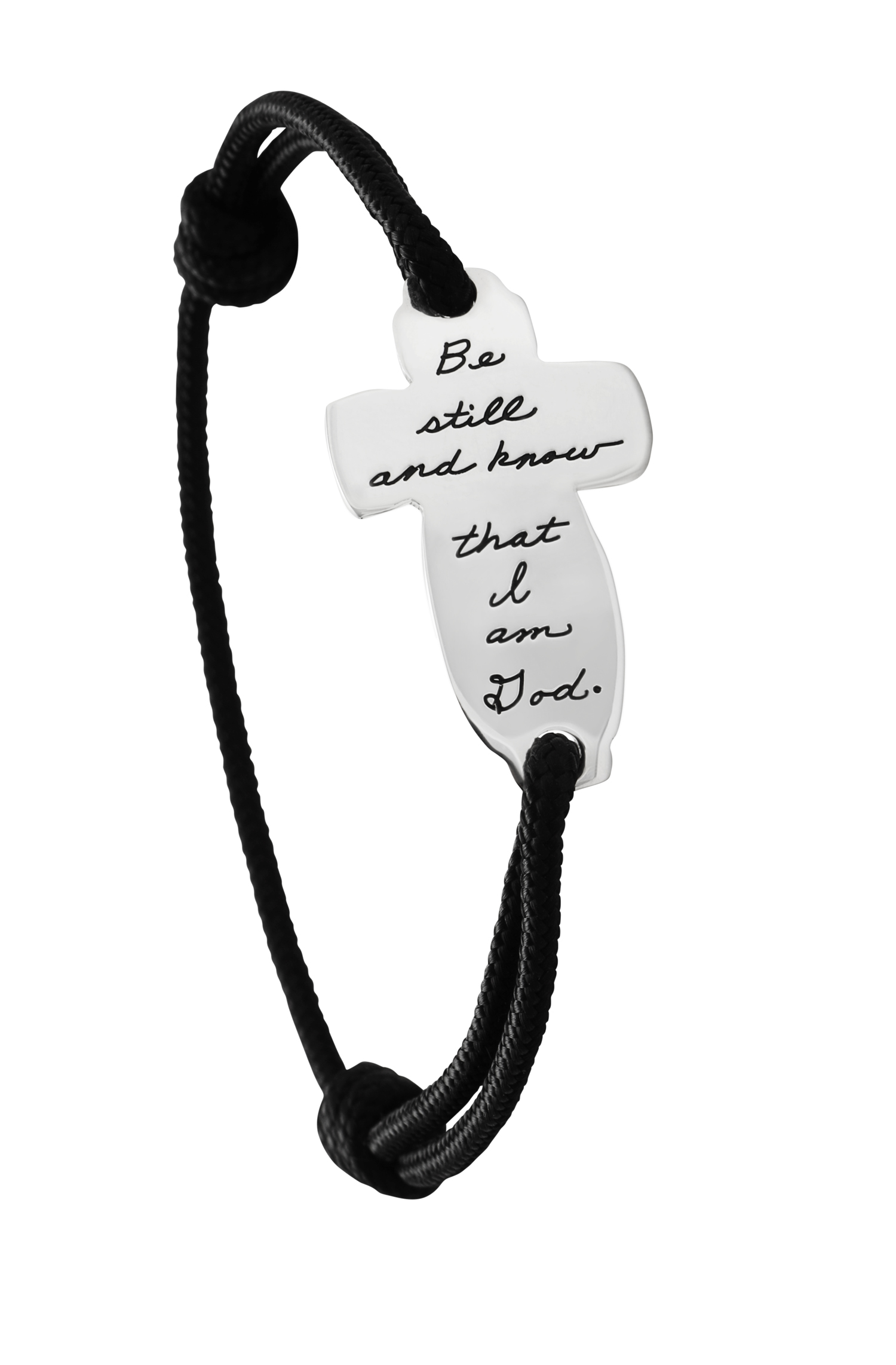 Black Wrist cord with Sterling Silver Inspirational Cross shaped plaque engraved with quote - Be still and know that I am God.