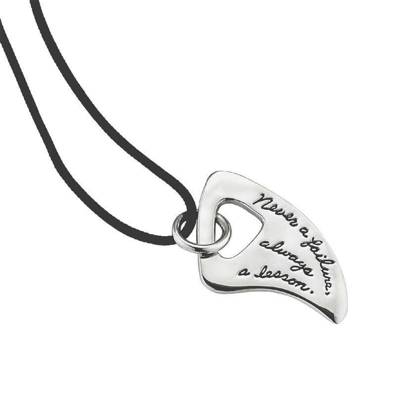 Necklace with inscribed quote - Never a failure, always a lesson. |BB Becker | Inspirational Jewelry
