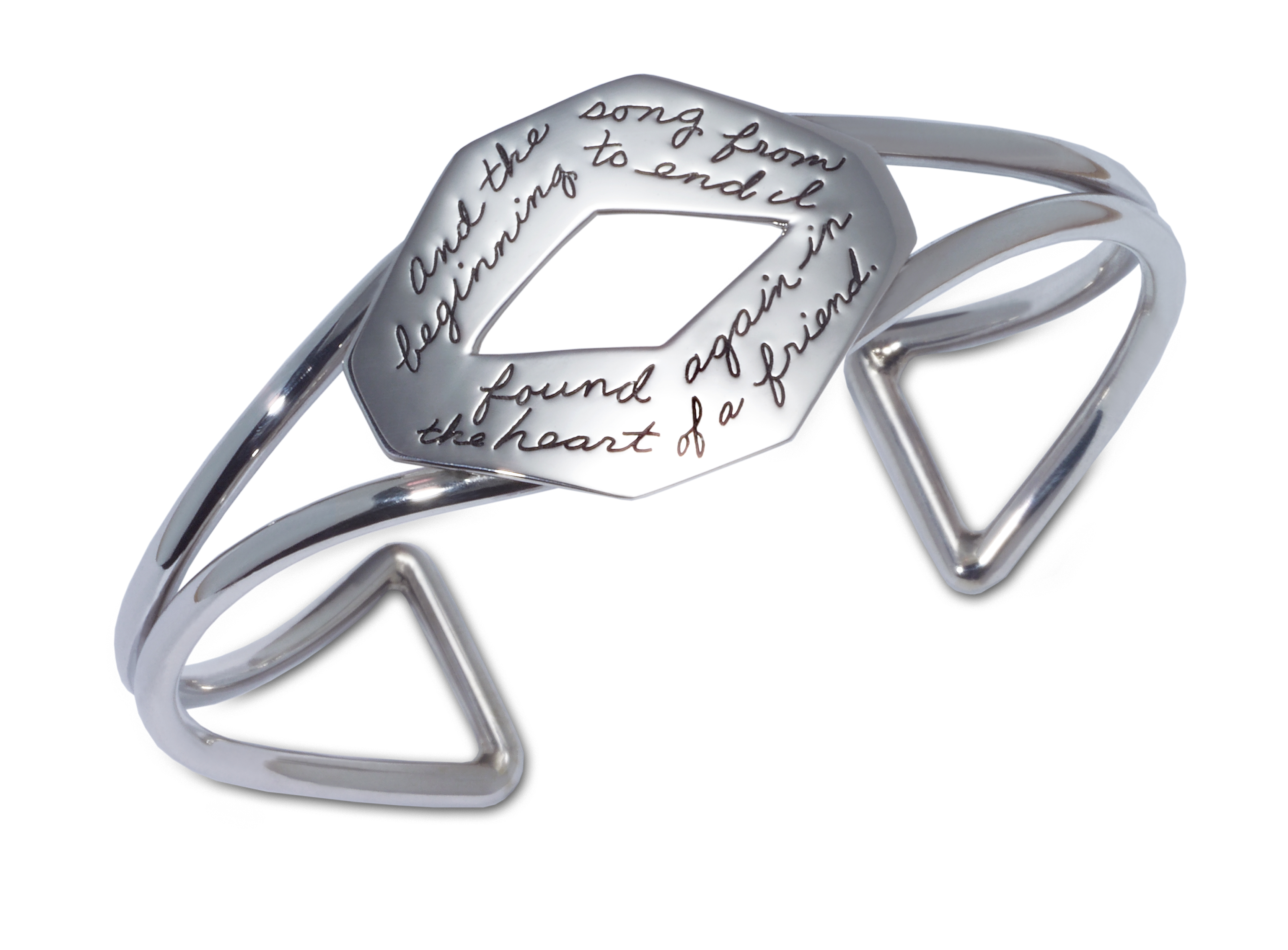Large sterling elongated plaque with Longfellow's poetic quotation connected by silver wires completing the bracelet  - And the song from beginning to end, I found again in the heart of a friend.