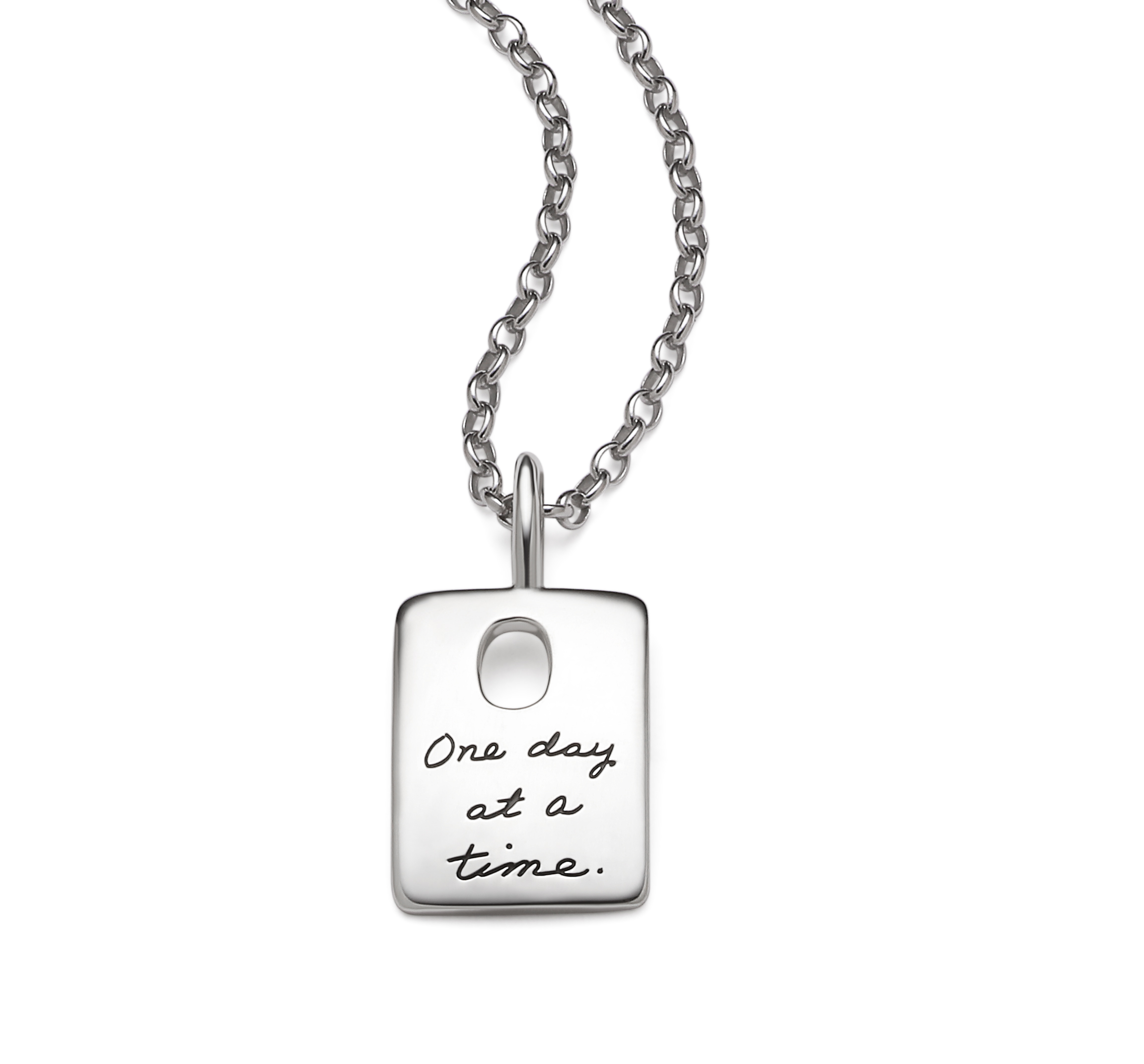 Inspirational Sterling Silver Pendant rectangle shaped with a oval cutout near the top engraved quote reads: One day at a time.