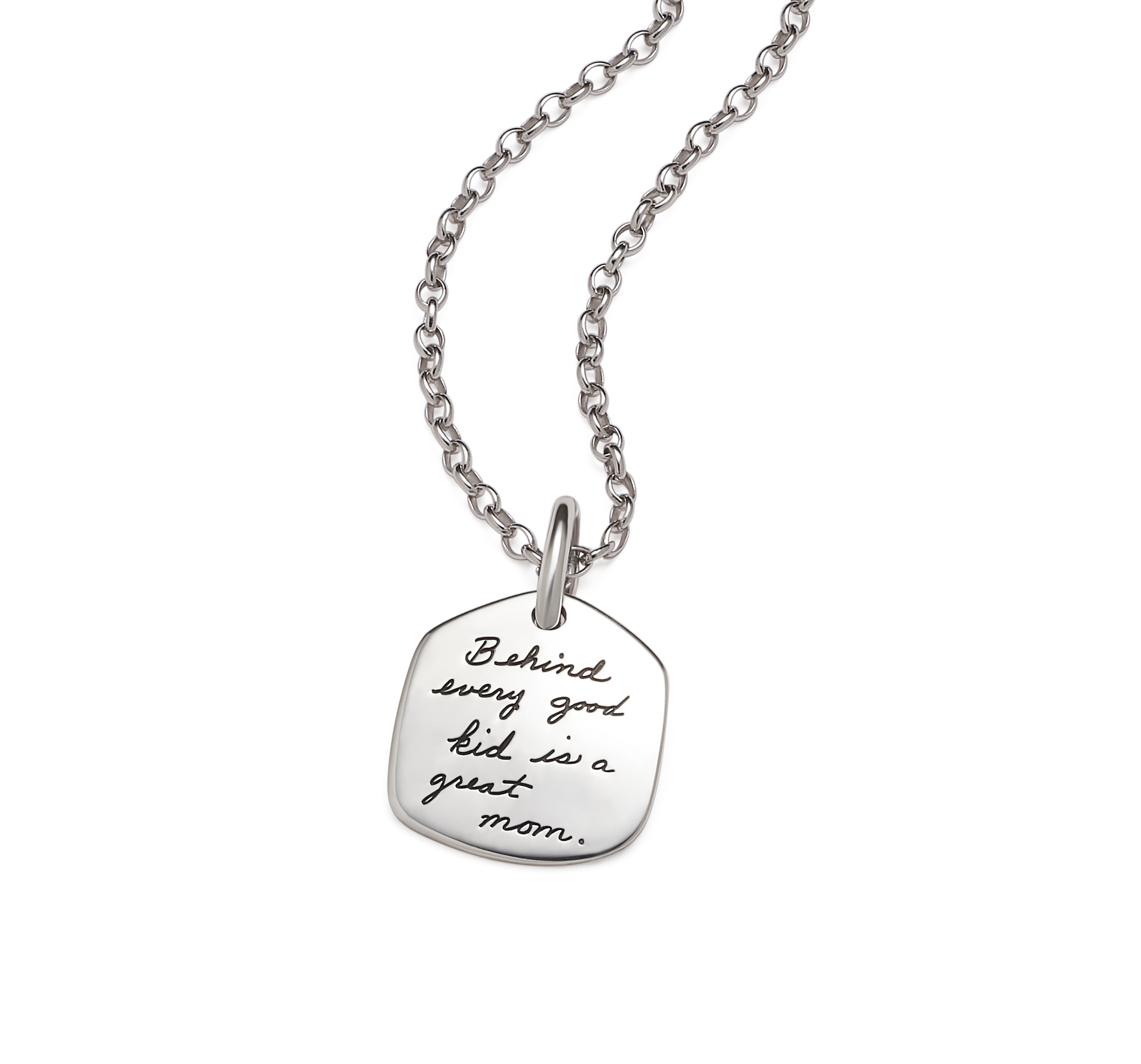 Inspirational Sterling Silver Necklace in the shape of a Pentagon with the quote: Behind every good kid is a great mom.
