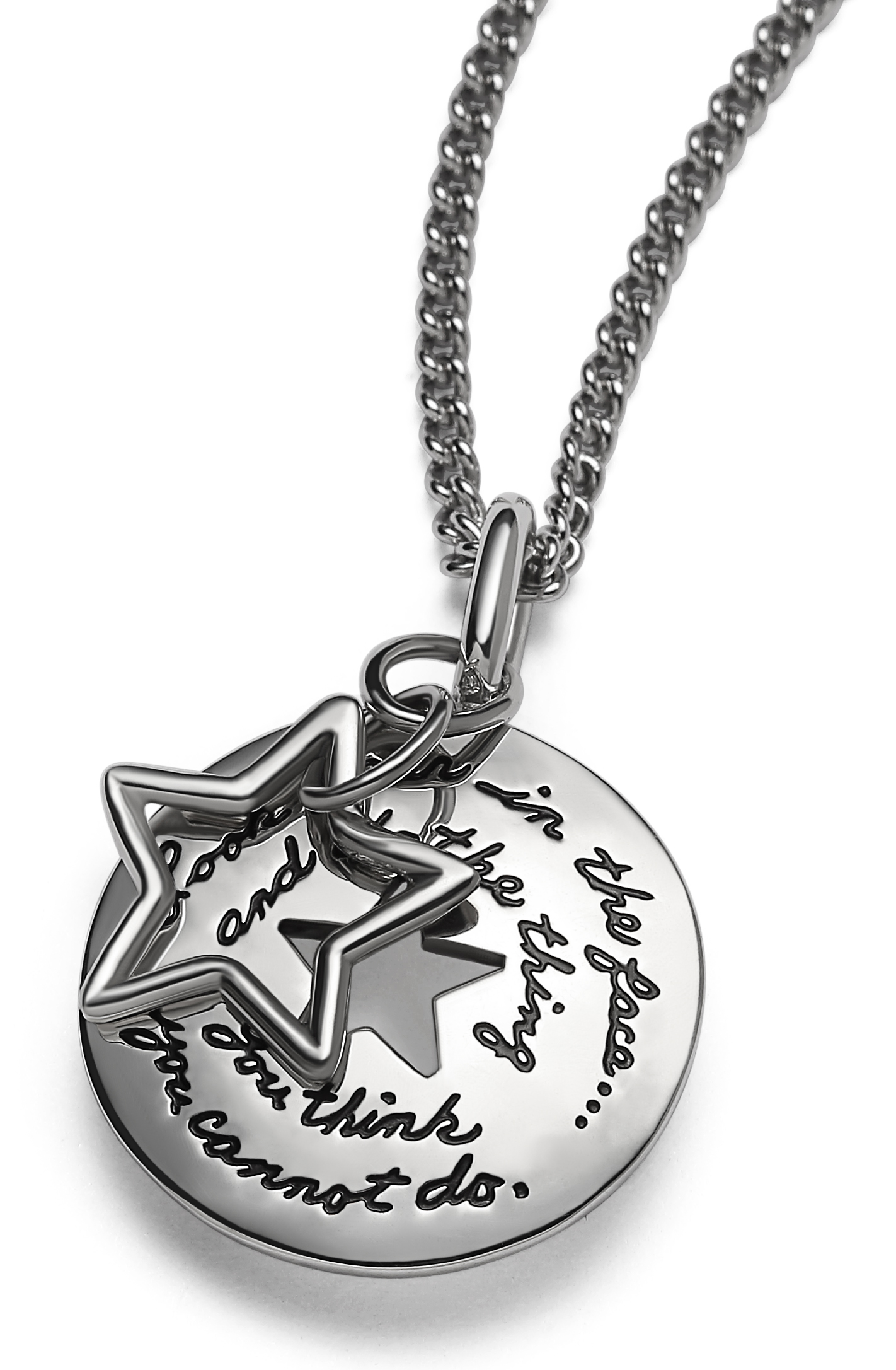 Sterling Silver Circle plaque with a Star cutout in the center and a wire star hanging in front Inspirational engraved quote:  Look fear in the face… and do the thing you think you cannot do. - Eleanor Roosevelt