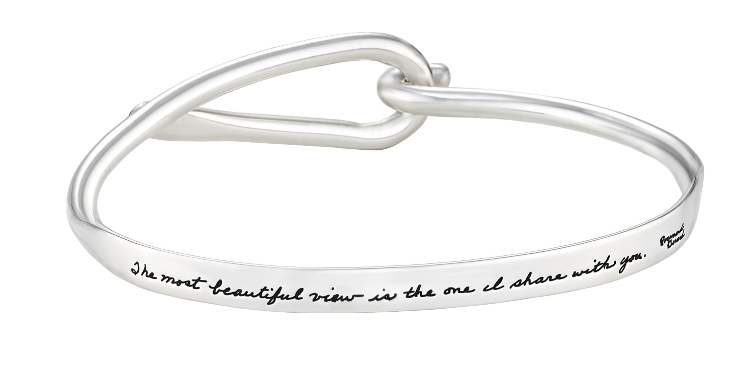 Bracelet with engraved quote - The most beautiful view is the one I share with you. ~Rosemond Gerard | BB Becker | Inspirational Jewelry