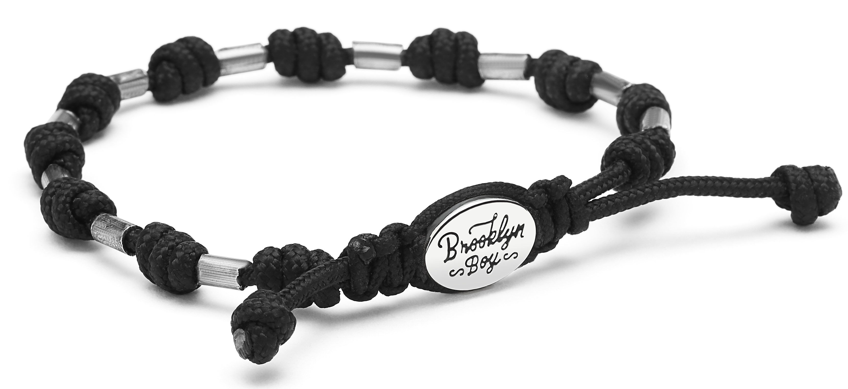 Men's Bracelet w/ Sterling Tube Beads and Knotted Cord