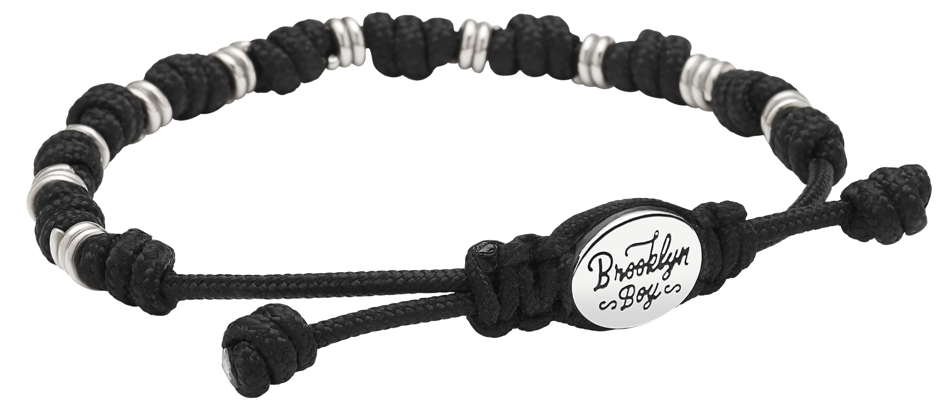 Men's Bracelet w/ Sterling Spiral Beads and Knotted Cord