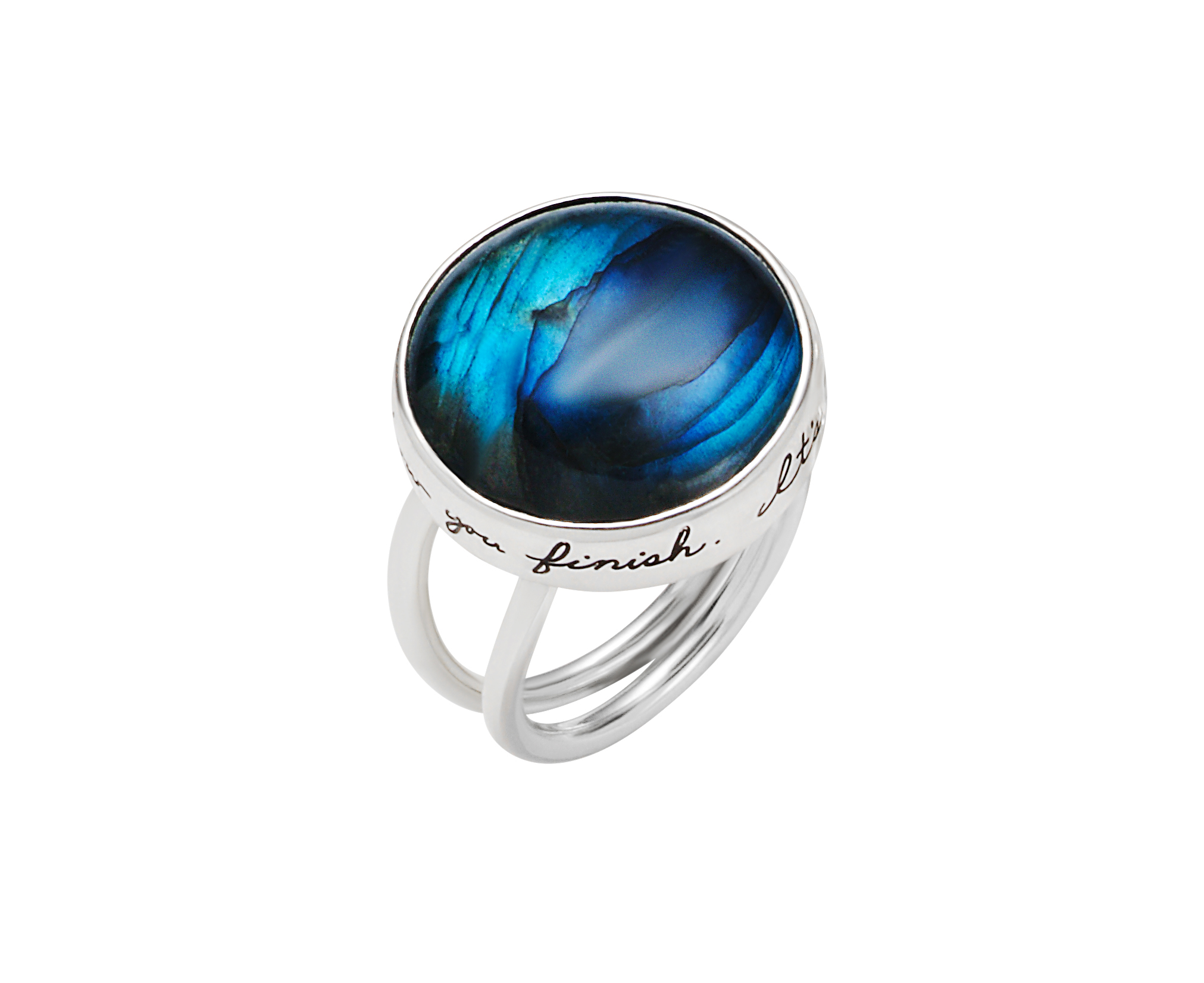Sterling silver bouble wire band ring with a 18mm Cabochon Labradorite on top Inspirational message engraved around stone reads:  It's not where you start, it's how you finish.