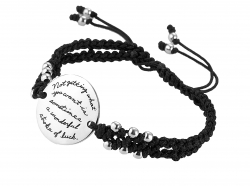 Handcradted round silver plaque and knotted black cord bracelet is engraved with Dalai Lama's words of wisdom:  Not getting what you want is sometimes a wonderful stroke of luck.