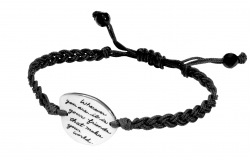 Hand-looped corded bracelet with engraved quote on silver plaque: Wherever you are, it is your friends that make your world. - William James