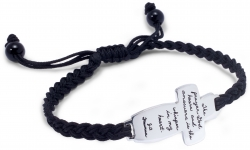 Sterling silver cross bracelet holds a spiritual quote and a hand-woven black cord: The prayer God hears and answers is the whisper in my heart. - J.D. Freeman