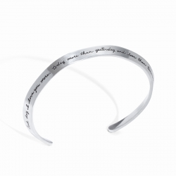 Sterling BB Becker bracelet inspired by shape of a collar holds message - Each day I love you more, today more than yesterday, and less than tomorrow.