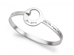 Classic sterling bracelet with a large round opening for clasp holds message - The only people who truly know your story are the ones who help you write it.