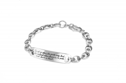 Intricate links shaped like ladybugs form bracelet with Emerson's quote - Do not go where the path may lead. Go instead where there is no path and leave a trail.