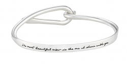 Classic BB Becker silver bracelet closes with oval opening and contains romantic sentiment   The most beautiful view is the one I share with you. Rosemond Gerard