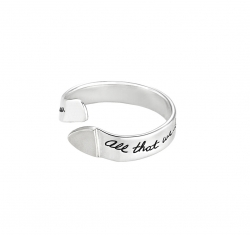 Sterling Silver Inspirational open ended ring with one raised triangle end Engraved quote reads: All that we love deeply becomes a part of us. - Helen Keller