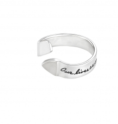 Sterling Silver Inspirational open ended ring with one raised triangle end Engraved quote reads: Our lives are connected by a thousand invisible threads. ~Herman Melville