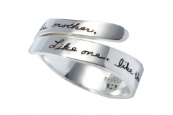 BB Becker sterling silver ring with engraved quote: Like one, like the other, like daughter, like mother.