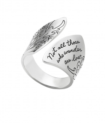 Sterling Silver ring with wide fan shape ends engraved with a floral design and inspirational quote that reads: Not all those who wander are lost.