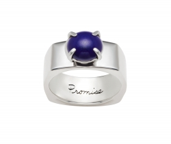 Inspirational sterling silver ring rounded square shape with a 8mm Cabochon Lapis attached by four prongs. Engraved with the word Promise on the inside of the ring