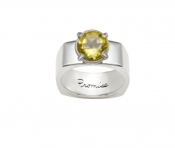 Inspirational sterling silver ring rounded square shape with lemon quartz attached by four prongs. Engraved with the word Promise on the inside of the ring