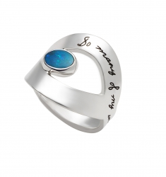 Inspirational sterling silver ring open eye shape center with 5x7 Australian opal Engraved message reads: So many of my smiles begin with you.